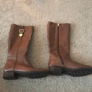 Brand new brown Coach leather boots